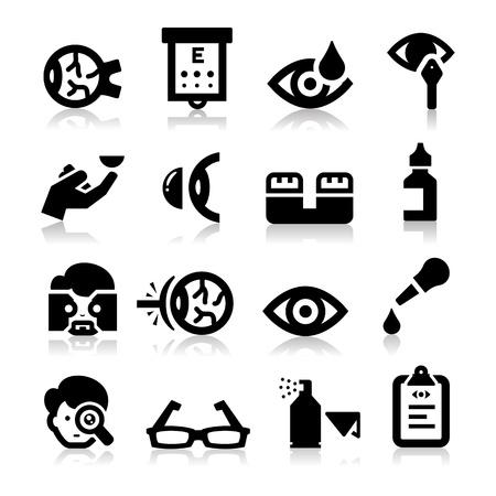 patient: Optometrie pictogrammen Stock Illustratie
