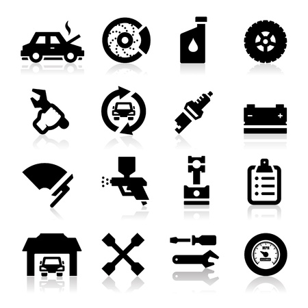 car in garage: Auto repair Icons Illustration