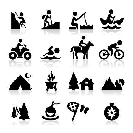 camp de vacances: Ic�nes Loisirs Illustration