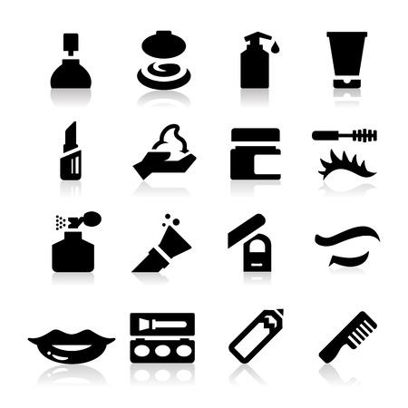 lipstick brush: Cosmetics Icons Illustration