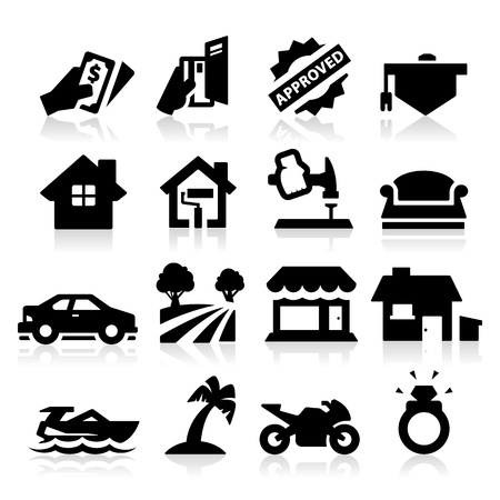 home loans: Tipo di prestito icone Vettoriali