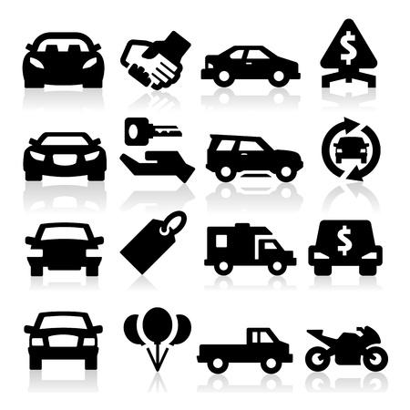 auto illustratie: Auto bedrijf pictogrammen