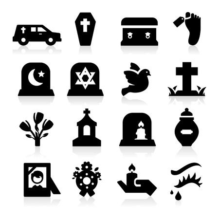 Funeral Pictogrammen Vector Illustratie