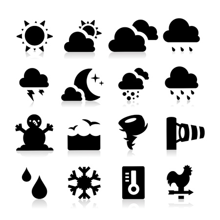cloudy night sky: Weather Icons Illustration