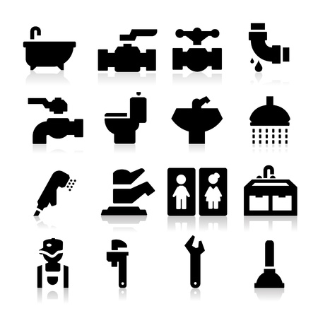 plumber with tools: Iconos Plomer�a Vectores