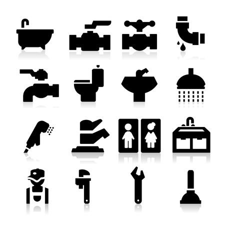 loodgieterswerk: Loodgieter pictogrammen Stock Illustratie