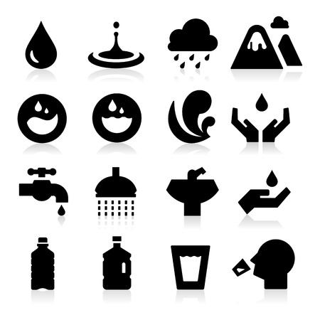 agua grifo: Agua icono Vectores