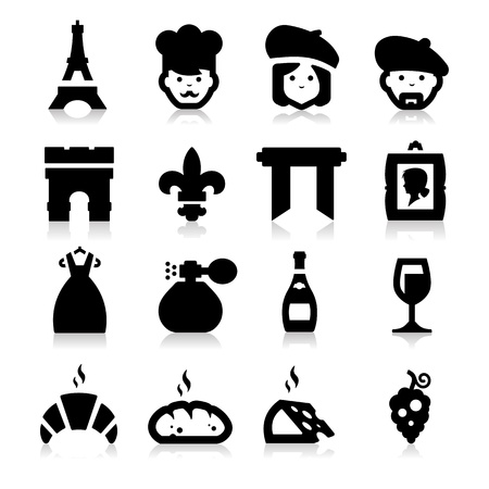 French Culture icons Vector