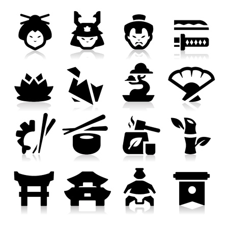 japanese flag: Japanese Culture Icons Illustration