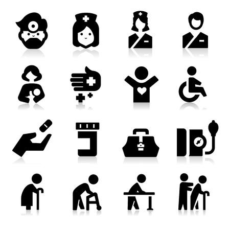 infermiere paziente: Icone di cura Vettoriali