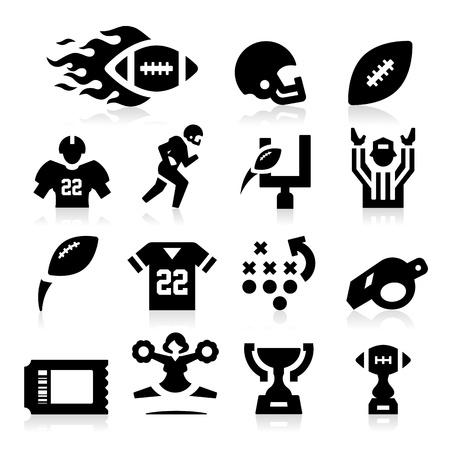 football silhouette: Football americano Icone Vettoriali