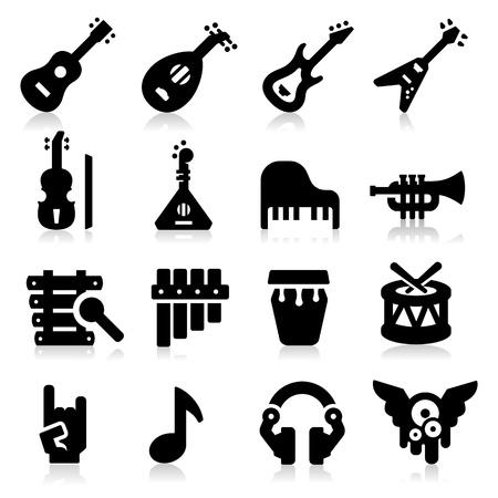 instruments de musique: Ic�nes Musique Illustration