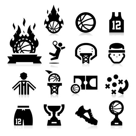 Iconos del baloncesto Ilustración de vector