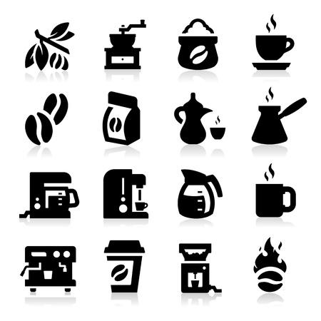 chicchi di caff�: Icone di caff� Vettoriali