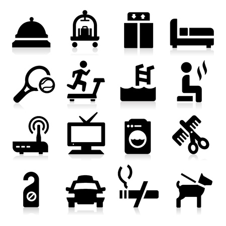 room service: Hotel Icons Illustration