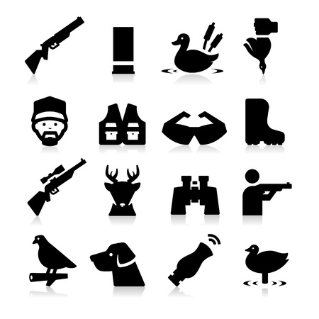 duck hunting: Hunting Icons Illustration