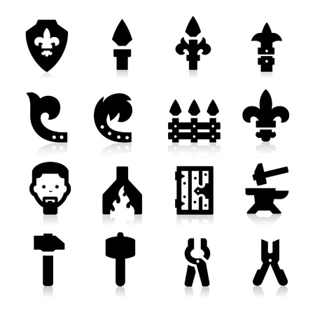 Iron Works Icons Stock Vector - 18214547