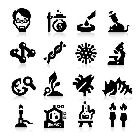 microscope: Ciencia e Investigación Icons Vectores