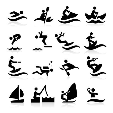 surf silhouettes: Water Sport Icons Illustration