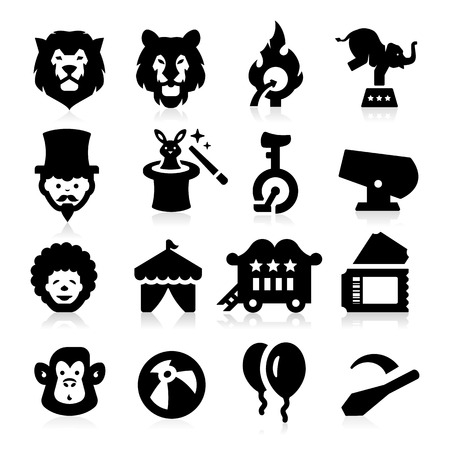 magic trick: Circus Icons Illustration