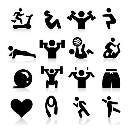 aerobica: Icone che esercitano Vettoriali
