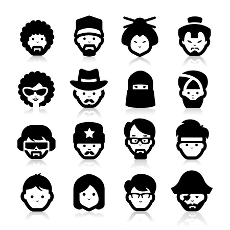 beard woman: People Icons two Illustration