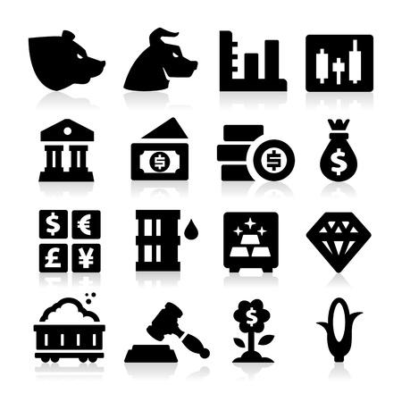 veiling: Trading Iconen Stock Illustratie