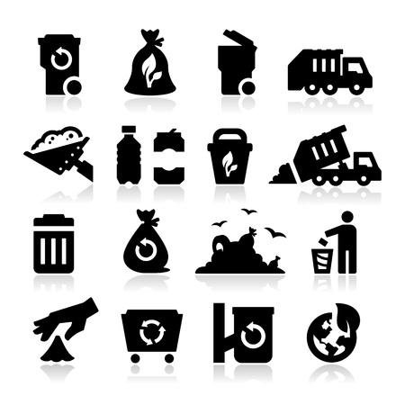 cesto basura: Iconos de basura Vectores