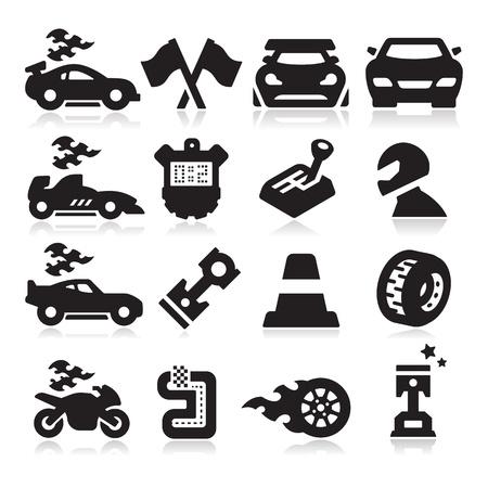 motor racing: Iconos Racing Vectores