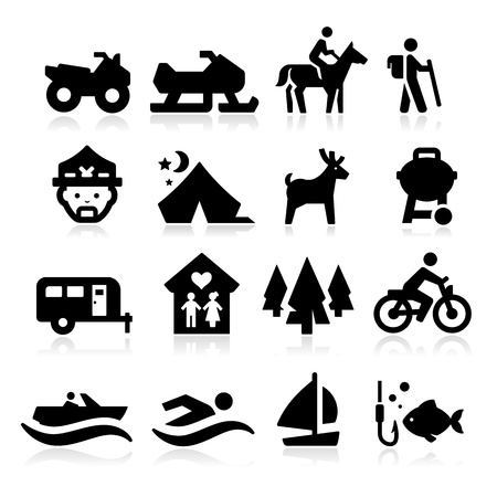outdoor activities: Recreation Icons Illustration