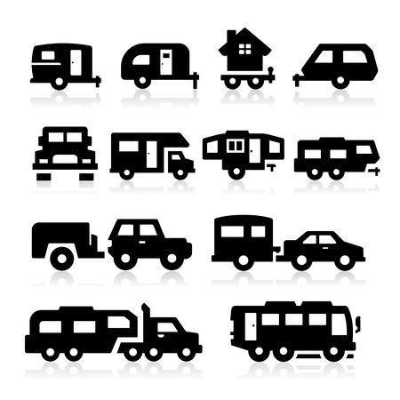 remolque: Vehículos Recreacionales Icons Vectores