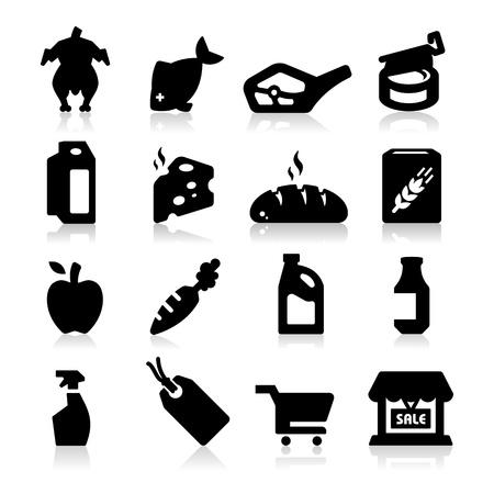 produits céréaliers: Supermarché icônes Deux Illustration