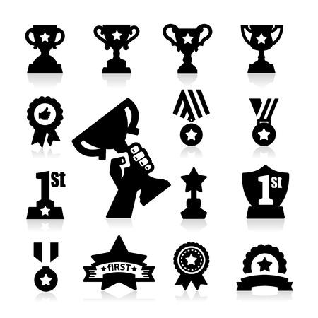 primer lugar: Trofeos y Premios Icons Vectores