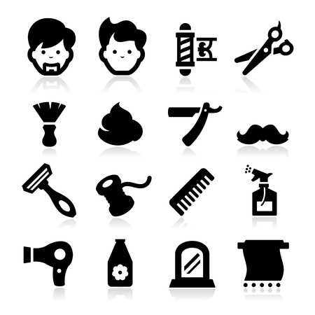 haircutting: Barber Icons Illustration