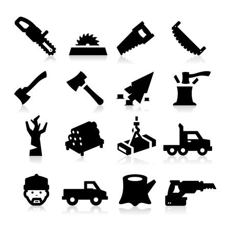 Iconos de leñador Ilustración de vector