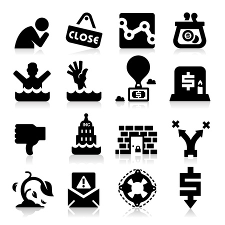 Business Failure Icons Vector