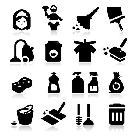 cleaning window: Cleaning Icons Illustration