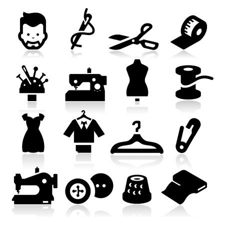 vestidos: Iconos de coser Vectores
