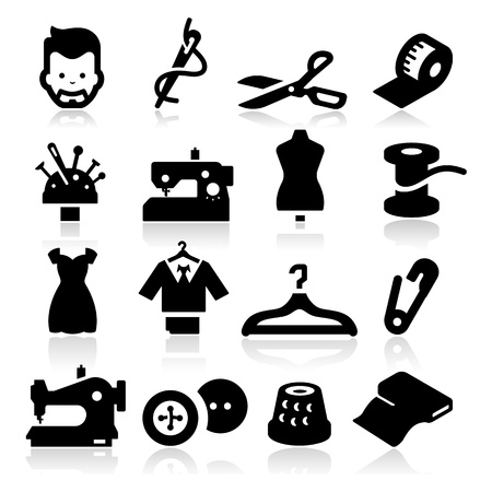 tailor suit: Sewing Icons Illustration