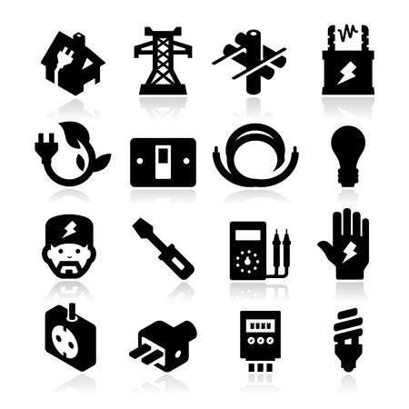 bateria: Iconos de electricidad Vectores