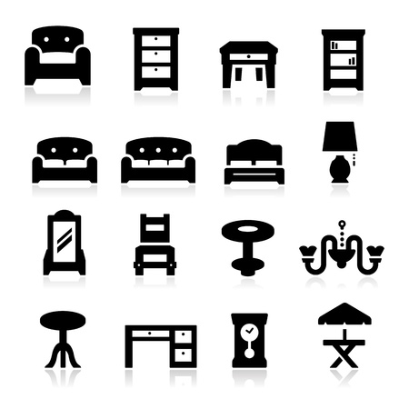 Furniture Icons Three Illustration