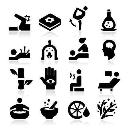 massage therapie: Therapie Iconen Stock Illustratie