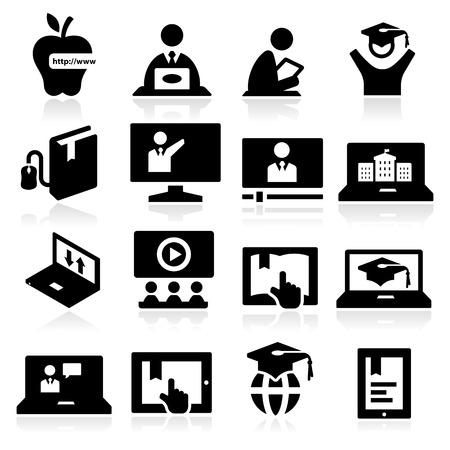 educaci�n en l�nea: Iconos de la educaci�n en l�nea Vectores