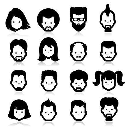 personas: Cuatro iconos de personas Vectores