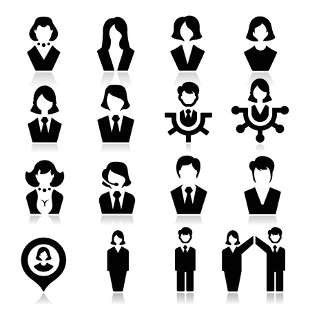 Businessman and businesswoman Icons Stock Vector - 23103910