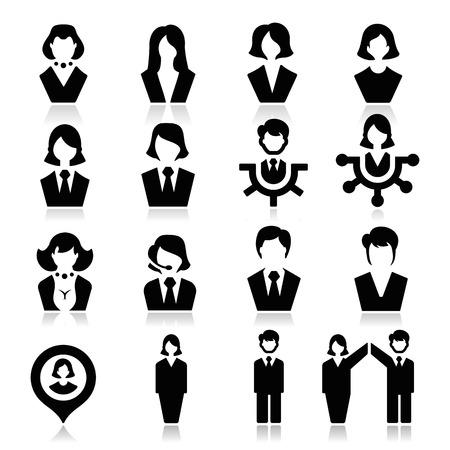 Hombre de negocios y empresaria iconos