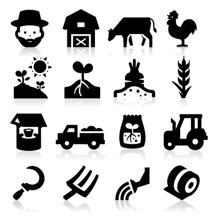 hay bales: Farm Icons Two Illustration