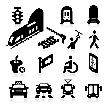 Public Transportation Icons Illustration