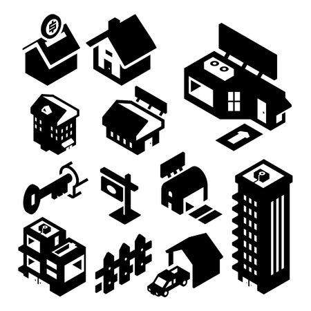 nieruchomosci: Nieruchomości ikony izometryczny Ilustracja