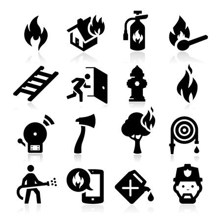 salida de emergencia: Iconos de lucha contra incendios Vectores